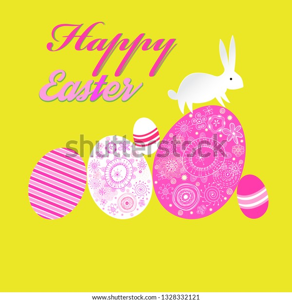 Bright unusual decorative greeting card for Happy Easter with eggs and a rabbit