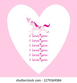 Bright valentine greeting card with heart and unicorn on pink background