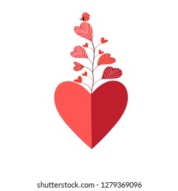 Bright valentine greeting card with heart and plant on white background