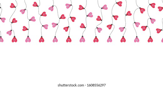 Bright Valentine's Day Holiday Intertwined Heart Shape String Hanging Lights on White Background Vector Seamless Horizontal Border Pattern. Cute Festive Love Background. Girly Print
