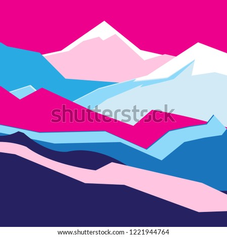 Bright vector abstract background color landscape with mountains and rocks