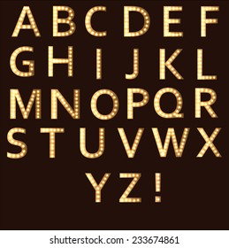 Bright vector alphabet with lighten letters in Broadway style