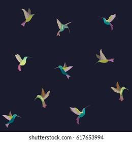 Bright vector birds. Hummingbird. Colibri. Seamless pattern.