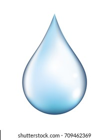 Bright vector clear water drop isolated on white background