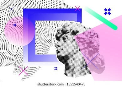 Bright vector collage with old sculpture of a woman's head, universal graphic Elements, Geometric Shapes, Dotted Halftone Objects for your design