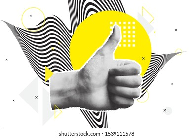 Bright vector collage of universal graphic Elements, Geometric Shapes, Dotted Halftone Objects for your design