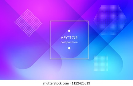Bright vector composition minimalist geometry gradient texture trendy design. Bright abstract geometric background with gradient for advertisement, poster, flyer.