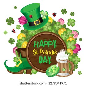 Bright vector composition on a transparent background for the holiday of St. Patrick