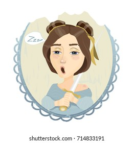 Bright vector illustration. Beautiful sleepy girl with a sword in her hand