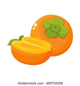 Bright vector illustration of colorful half and whole of juicy persimmon. Fresh cartoon persimmon isolated on white background. Juice or jam logotype.