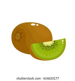 Bright vector illustration of colorful slice and whole of fresh kiwi. Fresh cartoon kiwi isolated on white background.