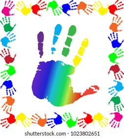 Bright  vector illustration with multicolored handprints border and big rainbow palm print silhouette in center on white background.