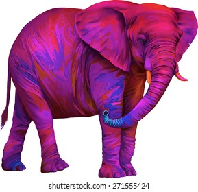 Bright Vector illustration of pink painted African elephant (Loxodonta africana) Isolated on white background