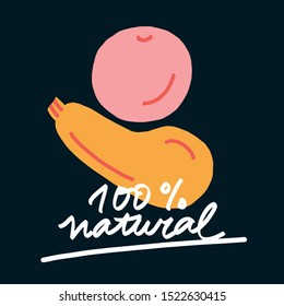 """Bright vector illustration with vegetables. Simple lettering on the theme of natural food. """"100% Natural"""" inscription. Digital drawing of zucchini and tomato."""