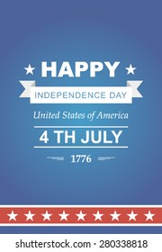 Bright vector for the Independence Day. 4th of July Celebration in America. United States of America. Symbol feast of stars, blue and red background. Beautiful poster with typography.