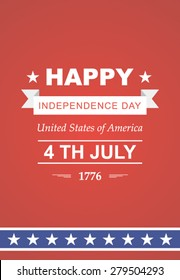 Bright vector to the Independence Day. July 4th Celebration in America. United States of America. Symbol feast of stars, blue and red background. Beautiful illustrations with typography poster
