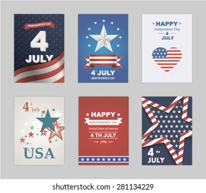 Bright vector to the Independence Day. July 4 th Celebration in America. United States of America. Symbol feast of stars, blue and red background. Beautiful illustrations with typography poster