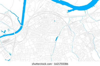 Bright vector map of Middlesbrough, England with fine tuning between road and water. Use this map as a background for your company or as a high-quality interior design.