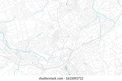 Bright vector map of Reutlingen, Germany with fine tuning between road and water. Use this map as a background for your company or as a high-quality interior design.