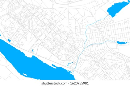 Bright vector map of Zaporizhia, Ukraine with fine tuning between road and water. Use this map as a background for your company or as a high-quality interior design.