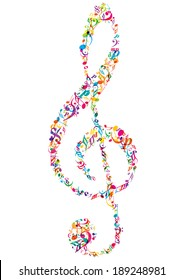 bright vector music notes and treble isolated on white background