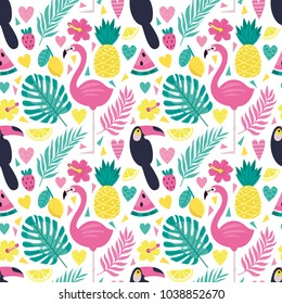 Bright vector pattern with palm leaves, tropical flowers, fruits, birds. Bright summer background with tropical elements.