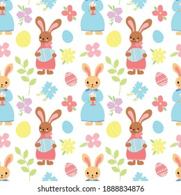 Bright vector pattern with rabbits in dresses with painted eggs, cakes and flowers on a white background. Easter ornament.
