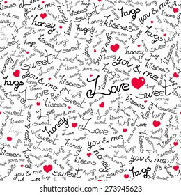 Bright vector seamless pattern about love on white.