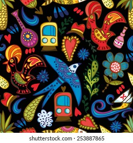 Bright vector seamless pattern of flowers and hearts and national Portuguese symbols.