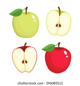 Bright vector set of colorful half and whole of juicy apple. Fresh cartoon apples on white background.