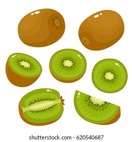 Bright vector set of colorful half, slice and whole of fresh kiwi. Fresh cartoon kiwi isolated on white background.
