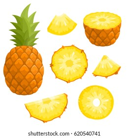 Bright vector set of colorful half, slice and whole of pineapple. Fresh cartoon exotic fruit isolated on white background.
