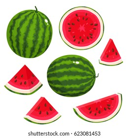 Bright vector set of colorful half, slice and whole of juice watermelon. Fresh cartoon berry isolated on white background.