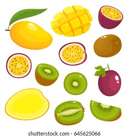 Bright vector set of colorful of kiwi, mango, passion fruit. Fresh cartoon different fruits isolated on white background used for magazine, book, poster, card, menu cover, web pages.