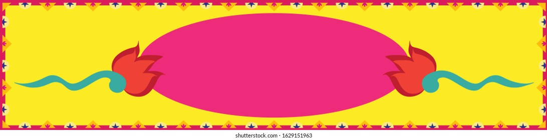 Bright and vibrant truck art, ethnic, tribal horizontal banner background template with floral borders and funky vibes with pop colors and empty space on the board for your text and artistic elements.