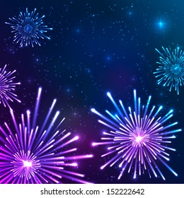 Bright violet and blue vector fireworks in the night sky