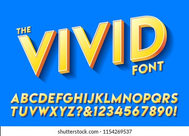 A bright and vivid yellow oblique sans serif on a blue background with shadows