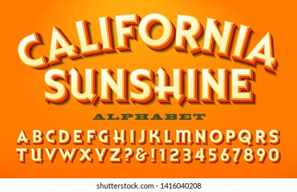 A bright warm-colored alphabet: California Sunshine. This font is similar to what might be used on a vintage fruit crate.