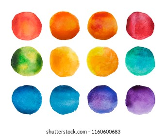 Bright watercolor circles set. Rainbow watercolour stains collection. Vector illustration.