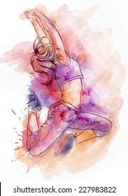 Bright watercolor dancer