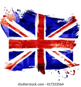 Bright  watercolor England flag with grunge effect