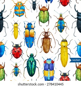 bright watercolor seamless pattern with beetles, white background
