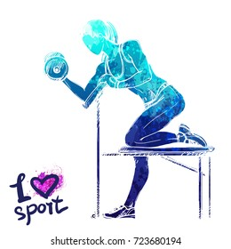 Bright watercolor silhouette of a girl is training with dumbbells. Vector sport illustration. Graphic figure of the athlete. Active people. Recreation lifestyle. Women. I love sport.