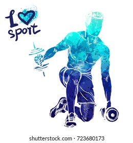Bright watercolor silhouette of a man is training with dumbbells. Vector sport illustration. Graphic figure of the athlete. Active people. Recreation lifestyle. Man. I love sport.