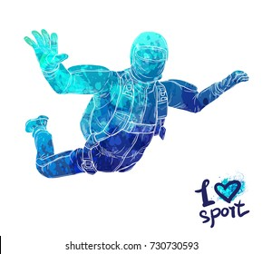 Bright watercolor silhouette of skydiving athlete in the clouds. Parachuting sport vector illustration. Graphic figure of the athlete. Active people. Recreation lifestyle. Man. Logo I love sport.
