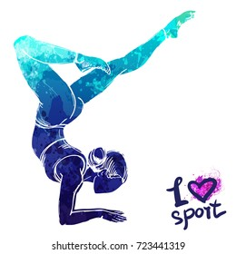 Bright watercolor silhouette of a stretching girl. Vector sport illustration. Graphic figure of yoga athlete. Active people. Recreation lifestyle. Women. I love sport.
