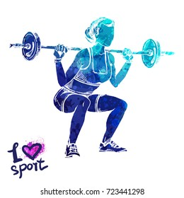 Bright watercolor silhouette of a women with a barbell. Vector sport illustration. Graphic figure of the athlete. Active people. Recreation lifestyle. Women. I love sport.