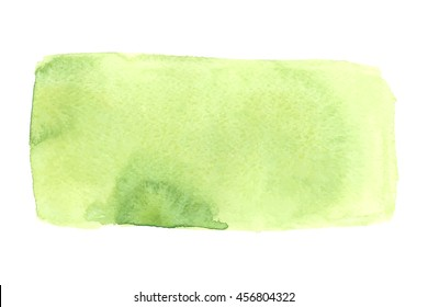Bright watercolor stain. Vector illustration. Abstract hand painted background in green colors