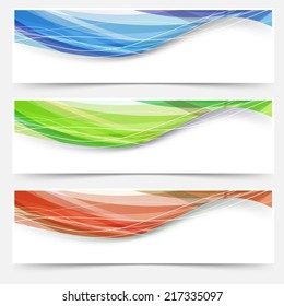 Bright wave lines red blue green headers. Vector illustration