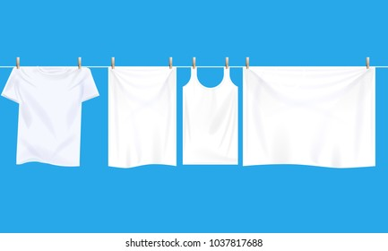 Bright white clothes hanging out on wire to dry. Realistic Illustrated vector.